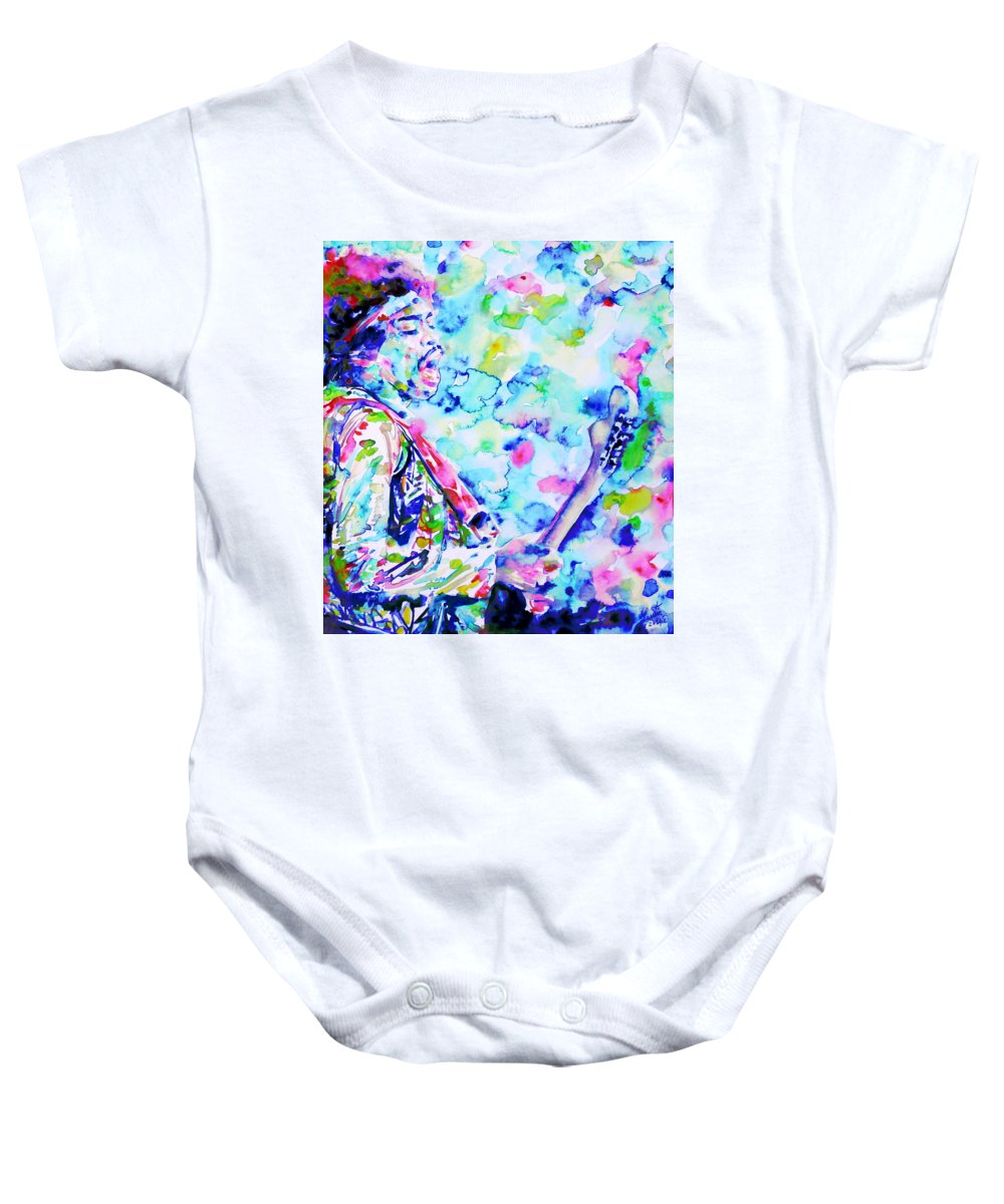 Jimi Baby Onesie featuring the painting Jimi Hendrix Playing The Guitar.4 -watercolor Portrait by Fabrizio Cassetta