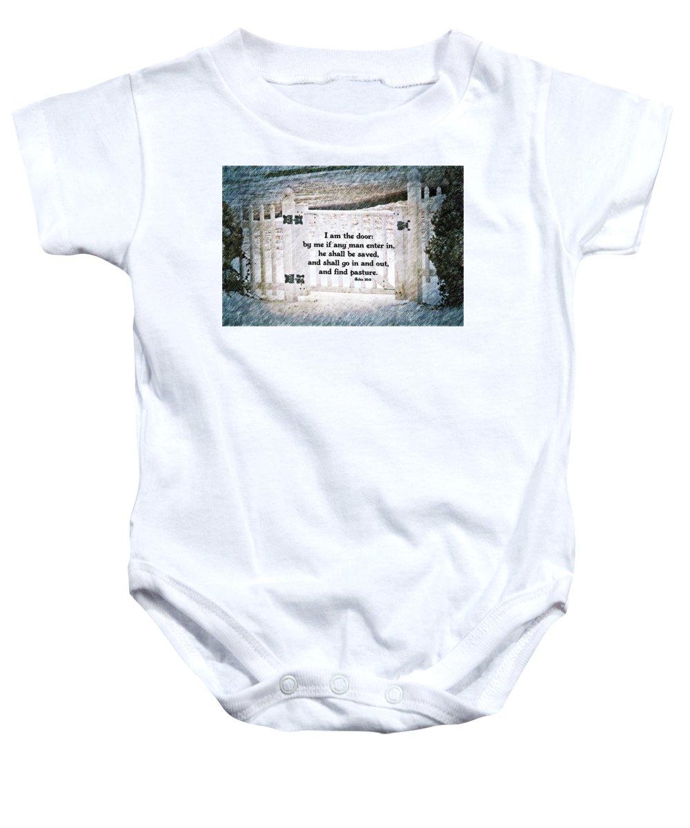 Jesus Baby Onesie featuring the digital art John 10 9 by Michelle Greene Wheeler