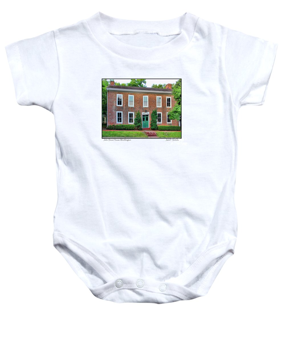 41 West New England Avenue Baby Onesie featuring the photograph John Snow House Worthington by Jack Schultz