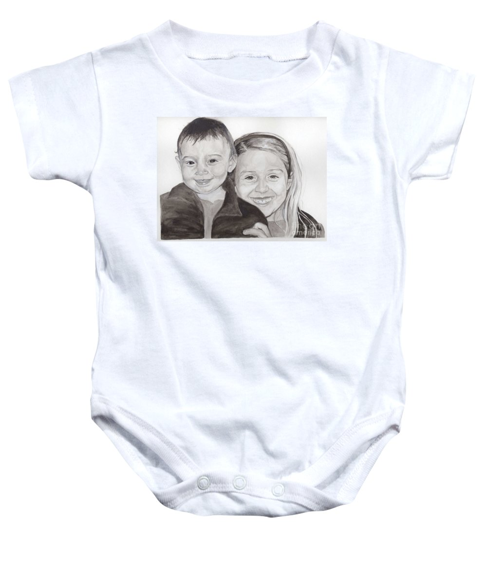 Sisters Baby Onesie featuring the painting Jordan And Chey Chey by Tamir Barkan