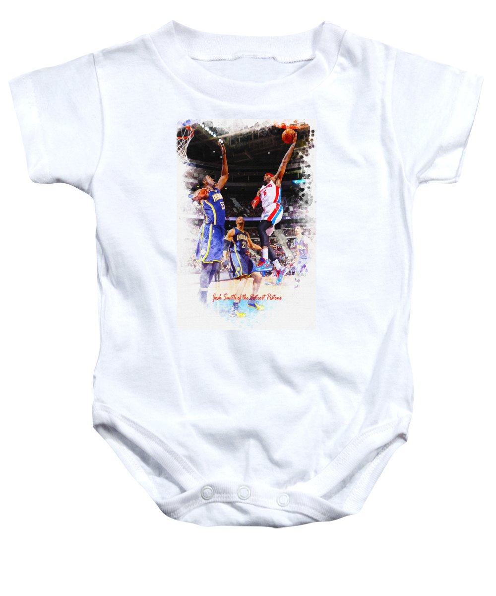 Decoration Baby Onesie featuring the digital art Josh Smith Of The Detroit Pistons by Don Kuing