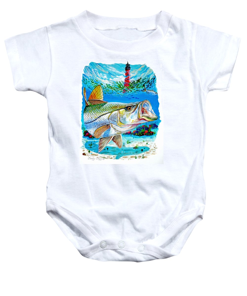 Snook Baby Onesie featuring the painting Jupiter Snook by Carey Chen