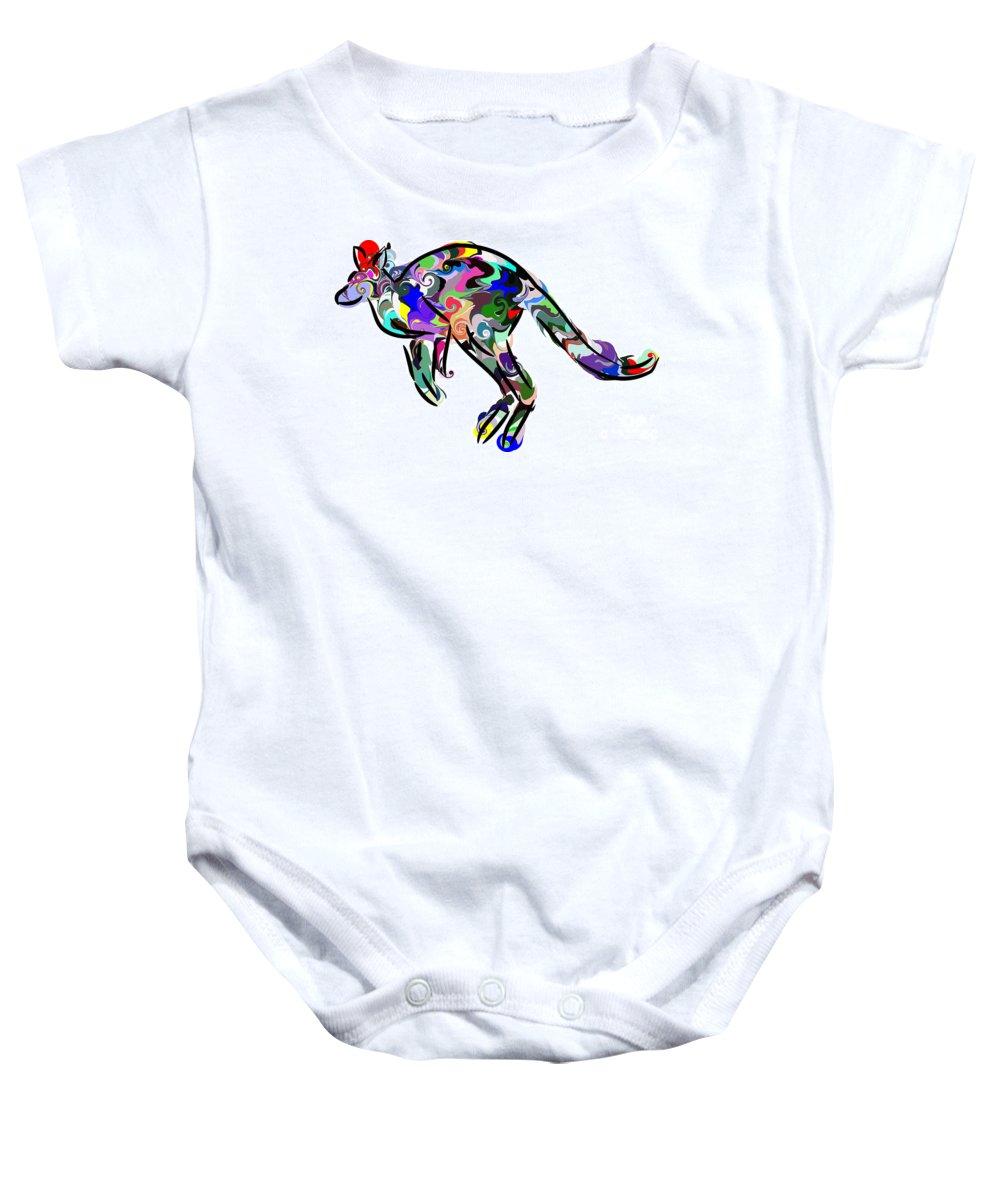 Kangaroo Baby Onesie featuring the digital art Kangaroo 2 by Chris Butler