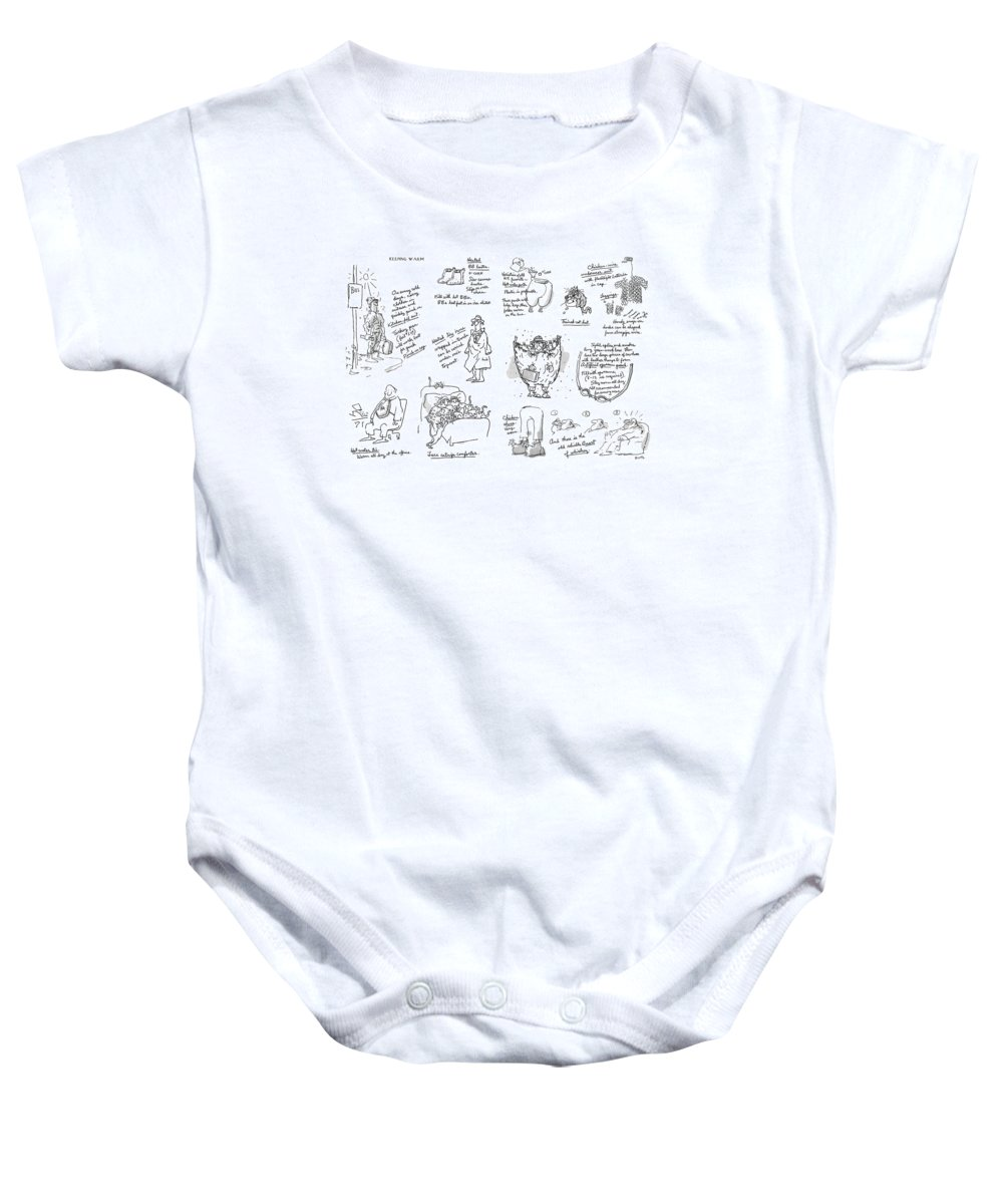 Keeping Warm (george Booth's Incomparable Attempts To Keep The Heat Up And Costs Down.) Technology Useless Fashion Seasons Winter Artkey 44834 Baby Onesie featuring the drawing Keeping Warm by George Booth