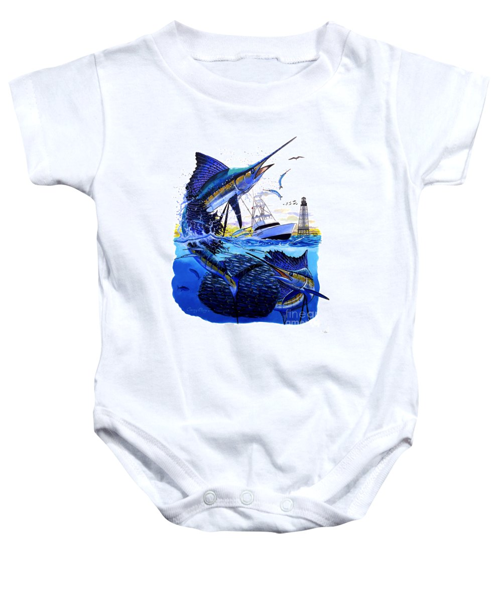 Sailfish Baby Onesie featuring the painting Keys Sail by Carey Chen