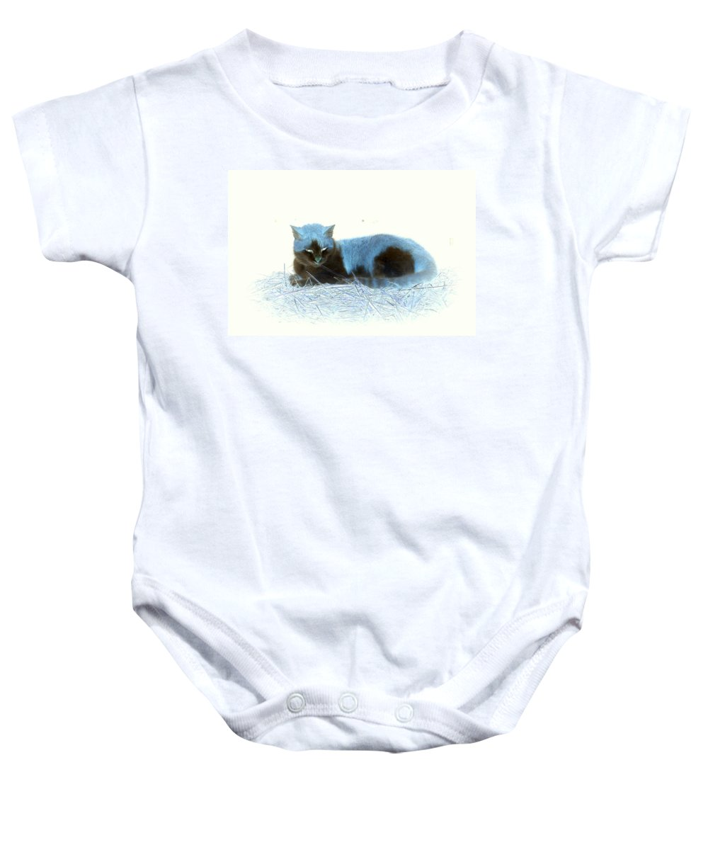Cat Baby Onesie featuring the photograph Kitty Blue IIII by Kathy Sampson