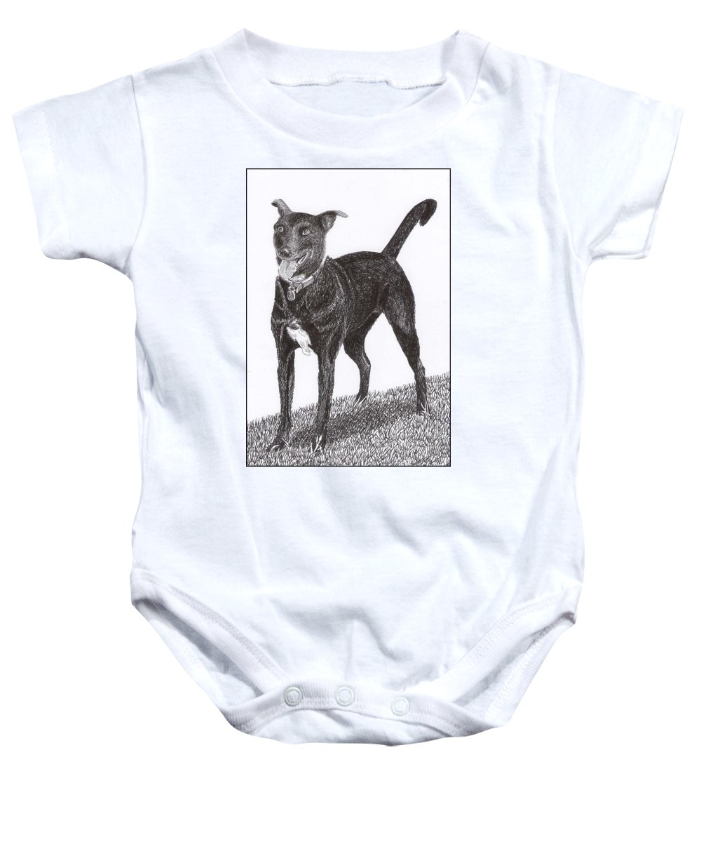 Priced Starting At $ 100.00 To $ 125.00 Framed Prints Of Man�s Best Friend. Framed Pen & Ink Art Of Winer Dogs. Ink Art Of Pets. Art Of Dogs And Cats.sue's Dog Drawn In Pen & Ink. Baby Onesie featuring the drawing Here Is Once Own See by Jack Pumphrey