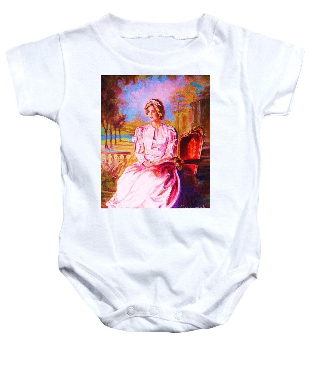 Princess Diana Baby Onesie featuring the painting Lady Diana Our Princess by Carole Spandau