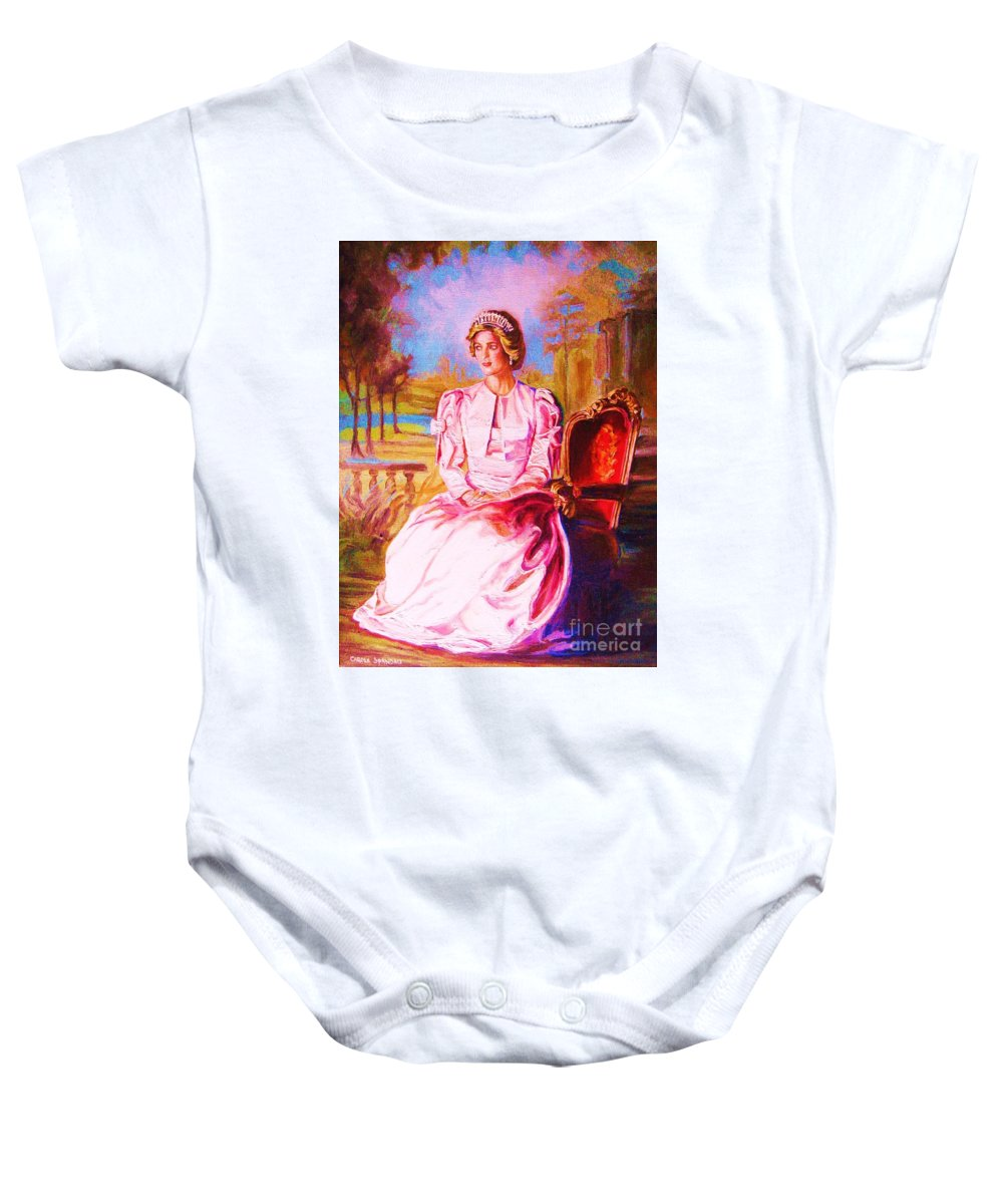 Princess Diana Baby Onesie featuring the painting Lady Diana Our Princess by Carole Spandau