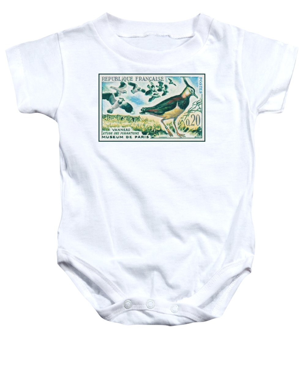 Nature Baby Onesie featuring the painting Lapwings Study Of Migration Museum Of Paris by Jeelan Clark