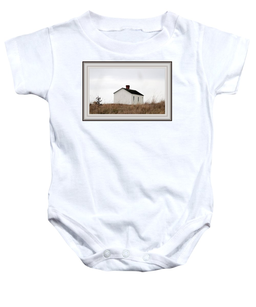 Borderized Laundress Quarters Baby Onesie featuring the photograph Laundress House At American Camp by Marie Jamieson