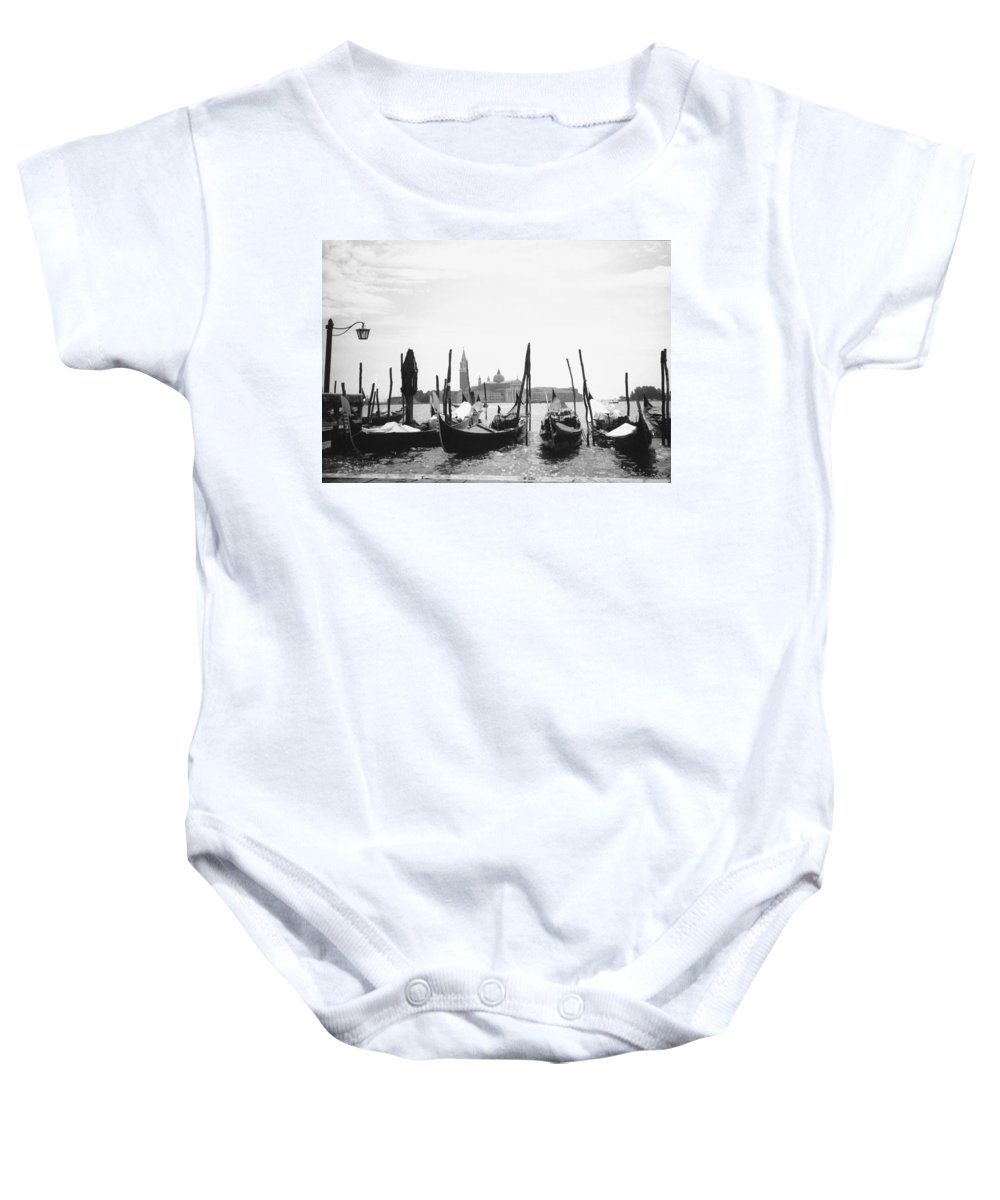 Venice Baby Onesie featuring the photograph Le Gondole - Venice by Heike Hellmann-Brown