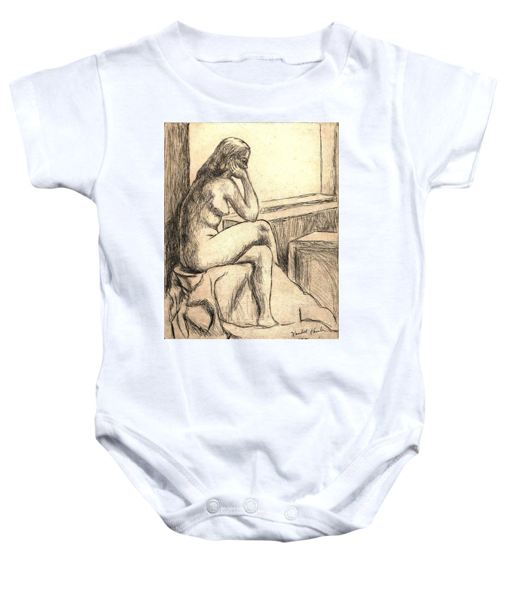 Nude Baby Onesie featuring the drawing Leaning Into The Day by Kendall Kessler