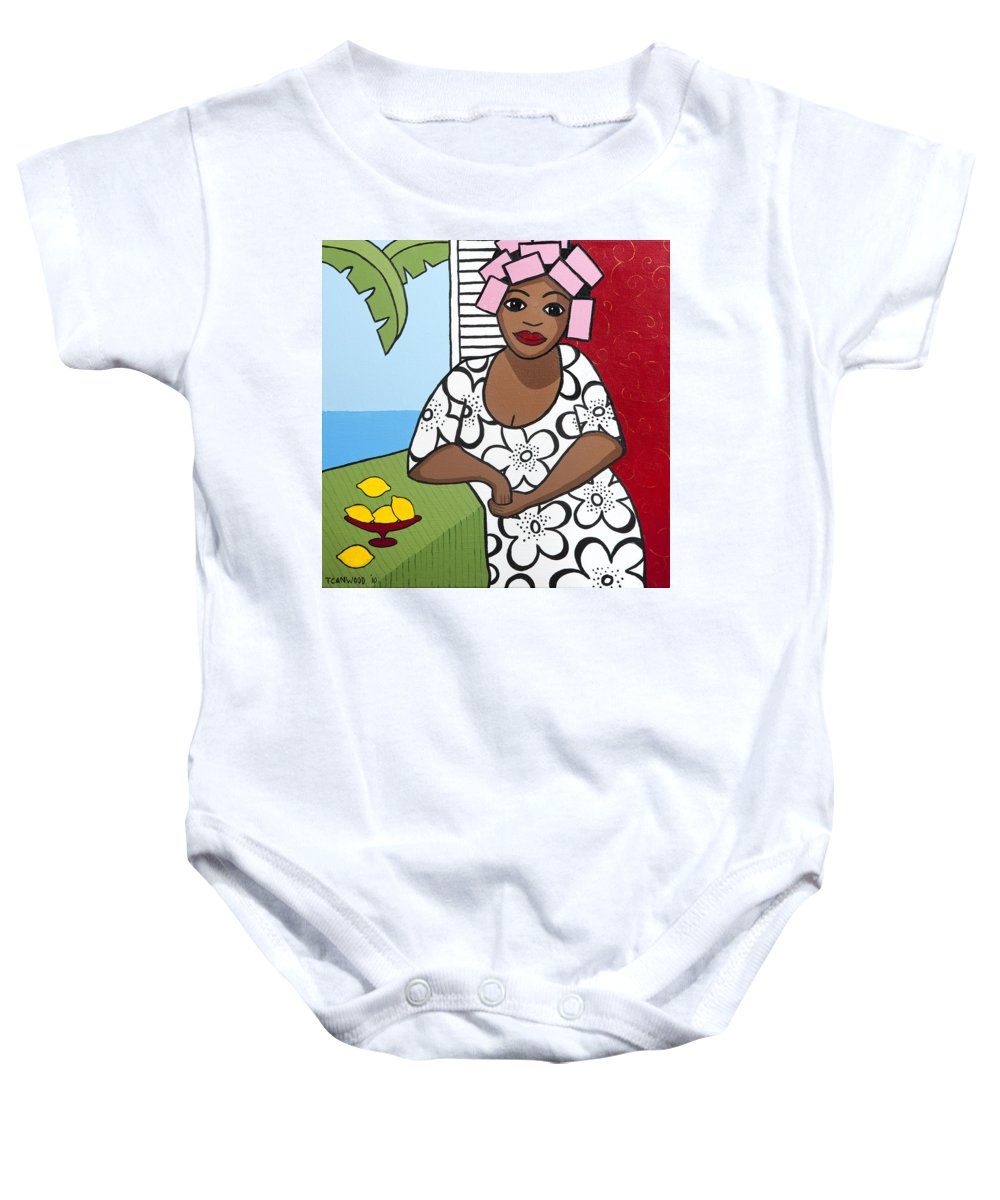 Interior Baby Onesie featuring the painting Lemons 2 by Trudie Canwood