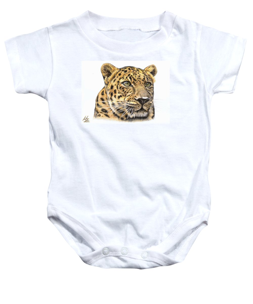Leopard Baby Onesie featuring the drawing Leopard by Nicole Zeug