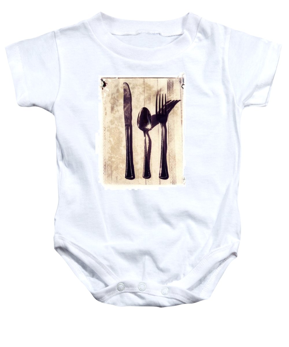 Forks Baby Onesie featuring the photograph Lets Eat by Jane Linders