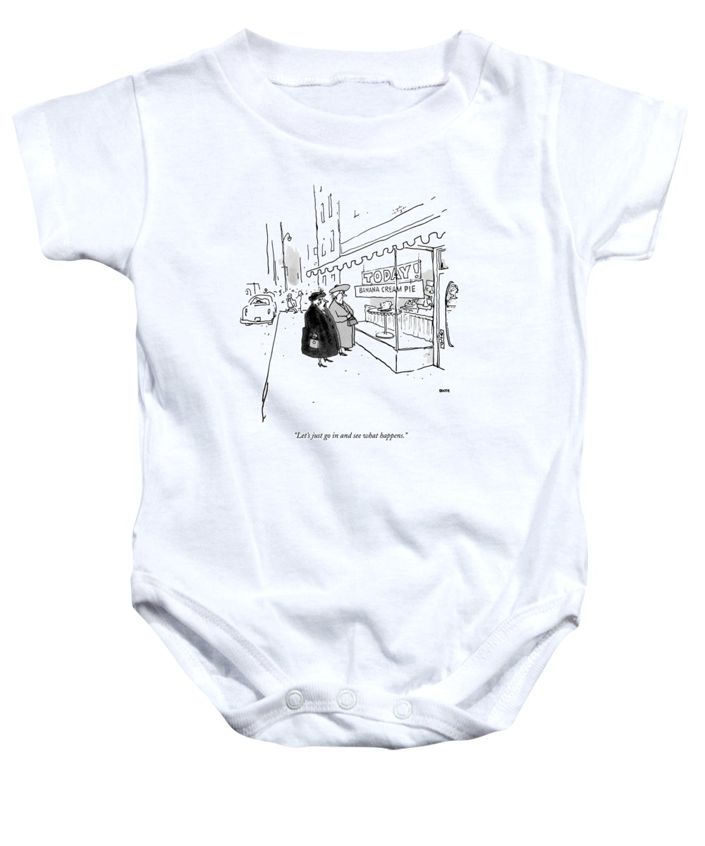 10/20 Baby Onesie featuring the drawing Let's Just Go In And See What Happens by George Booth