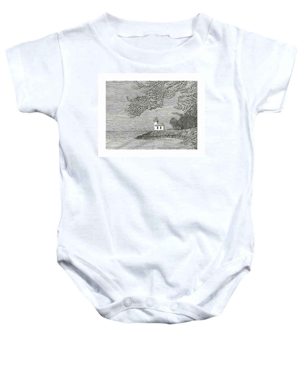 San Juan Islands Lime Point Lighthouse Baby Onesie featuring the drawing Light House On San Juan Island Lime Point Lighthouse by Jack Pumphrey