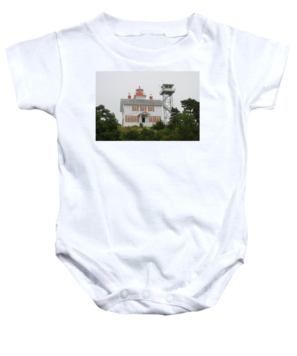 Light House Baby Onesie featuring the photograph Light House Oregon Coast by Tom Janca