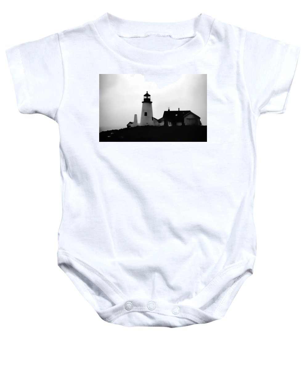 Baby Onesie featuring the digital art Lighthouse In Silhouette by Cathy Anderson