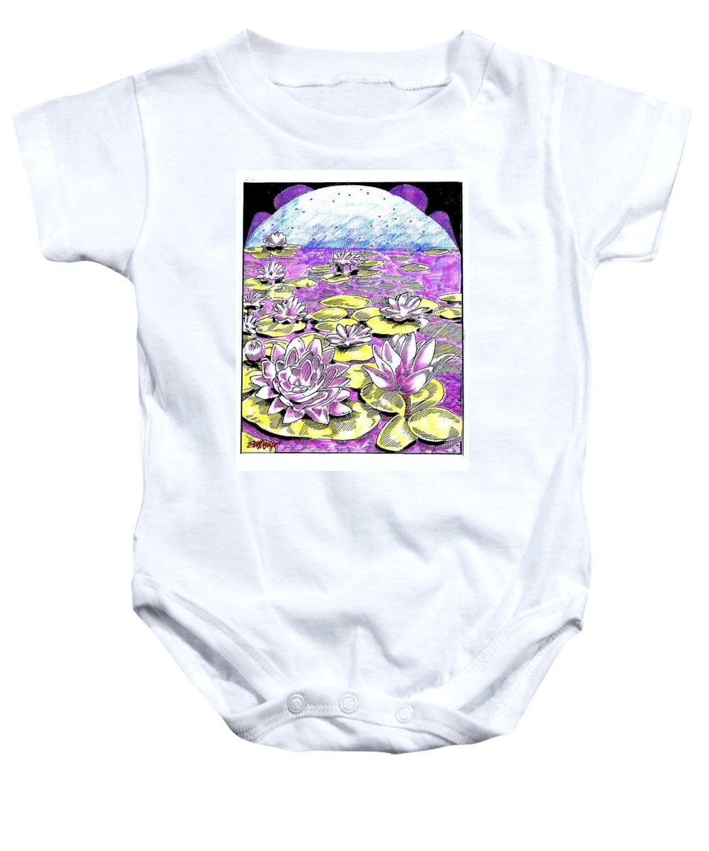Lilies Of The Lake Baby Onesie featuring the drawing Lilies of the Lake by Seth Weaver