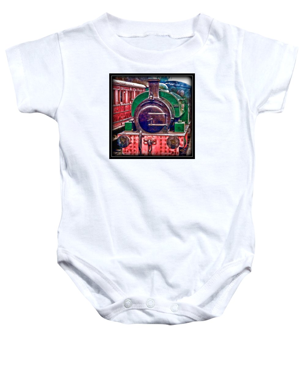 Trains Baby Onesie featuring the photograph Line And Ink Loco by John Lynch