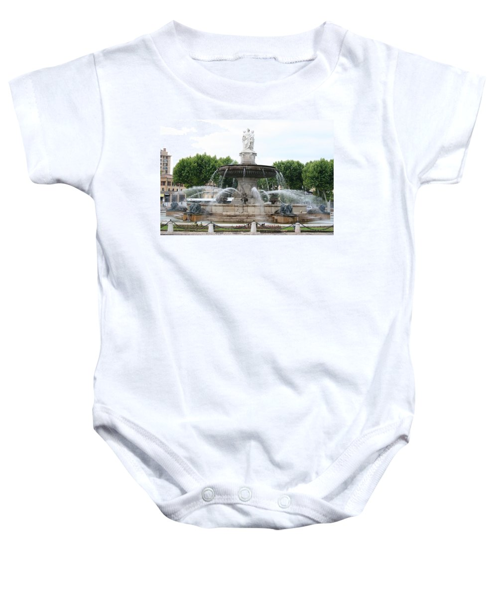 Fountain Baby Onesie featuring the photograph Lion Fountain - Aix En Provence by Christiane Schulze Art And Photography