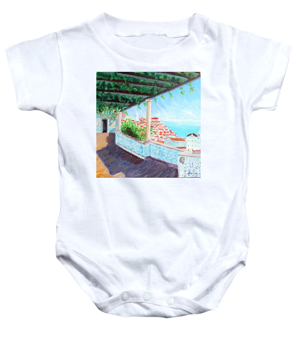 Lisboa Baby Onesie featuring the painting Lisbon Alfama With Atlantic Ocean by M Bleichner