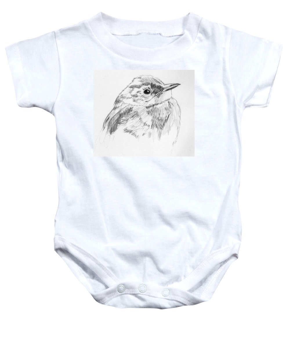 Bird Baby Onesie featuring the drawing Little Buddy by Crystal Hubbard