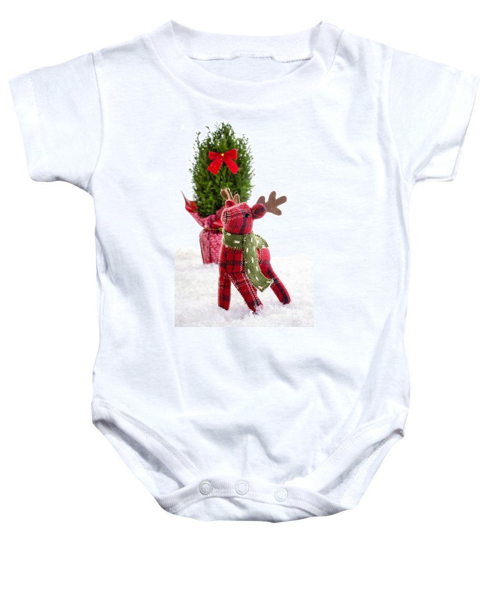 Tree Baby Onesie featuring the photograph Little Reindeer Christmas Card by Edward Fielding