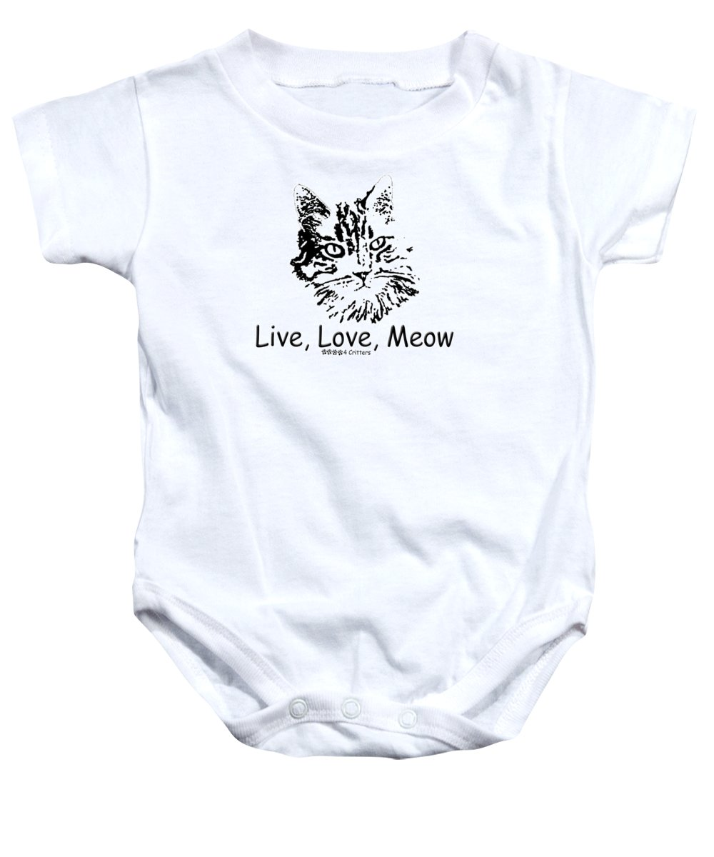Live Love Meow Baby Onesie featuring the photograph Live Love Meow by Robyn Stacey