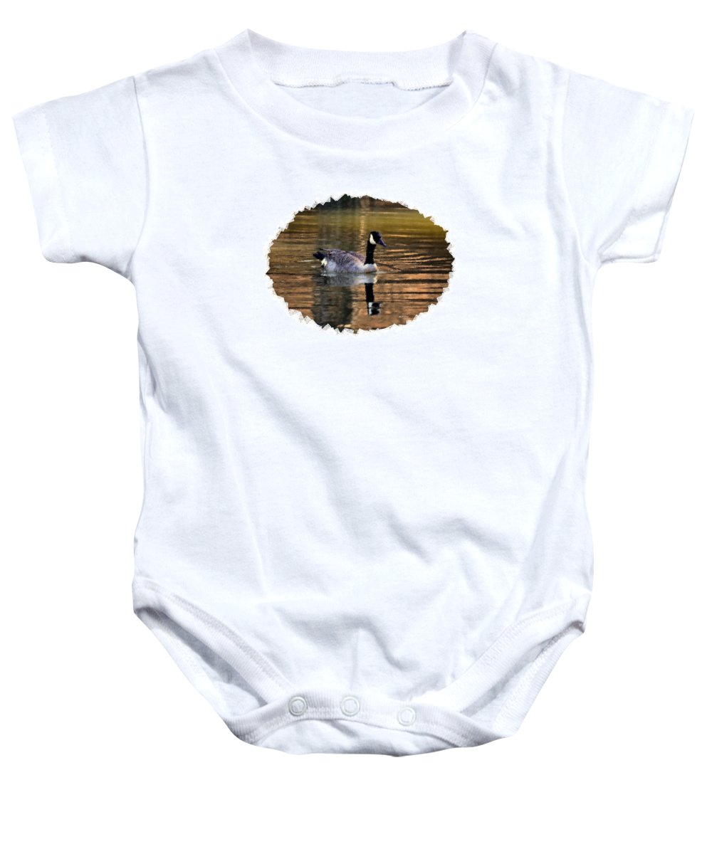 Lone Goose Baby Onesie featuring the digital art Lone Goose by Maria Urso
