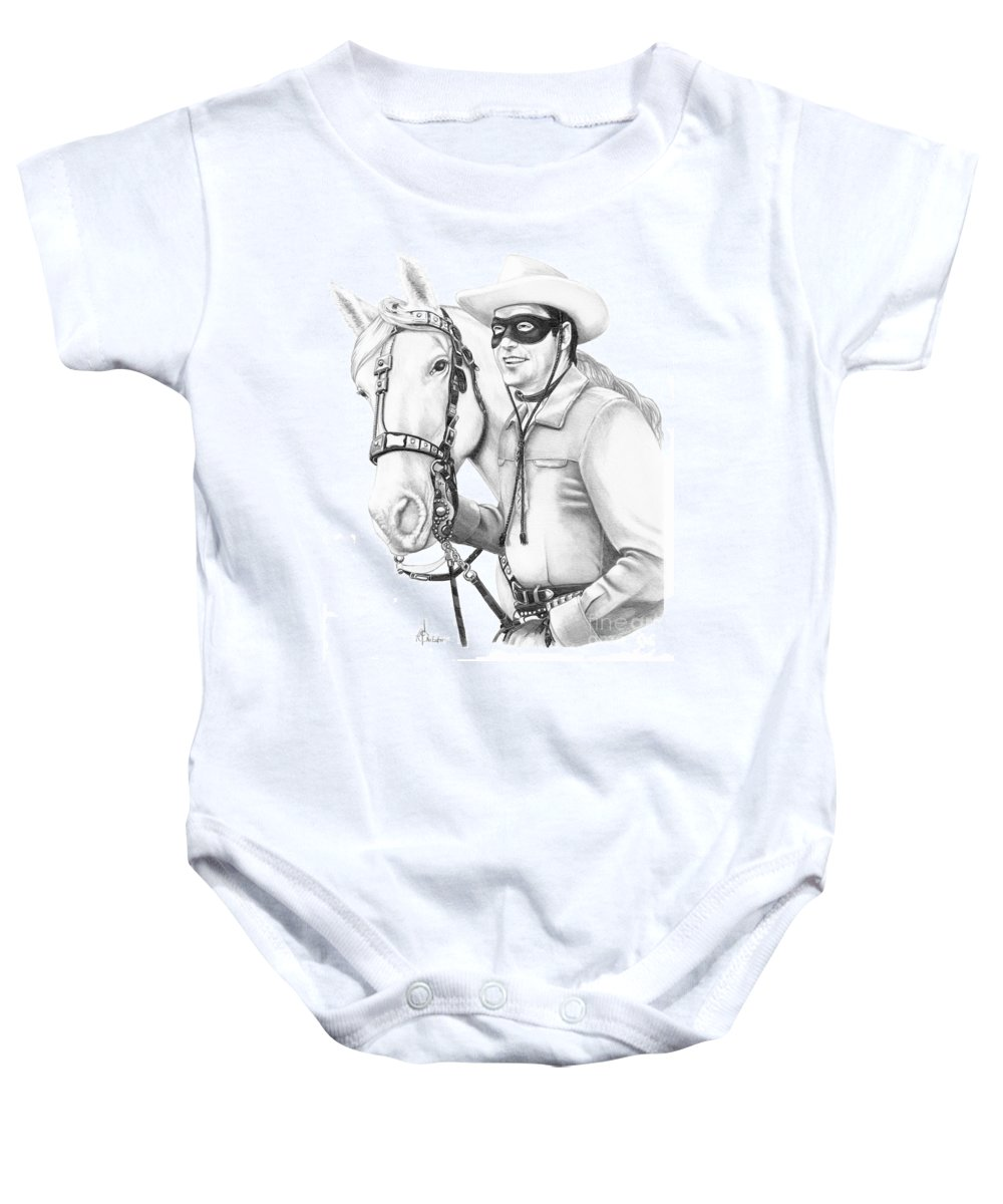 Pencil Baby Onesie featuring the drawing Lone Ranger by Murphy Elliott