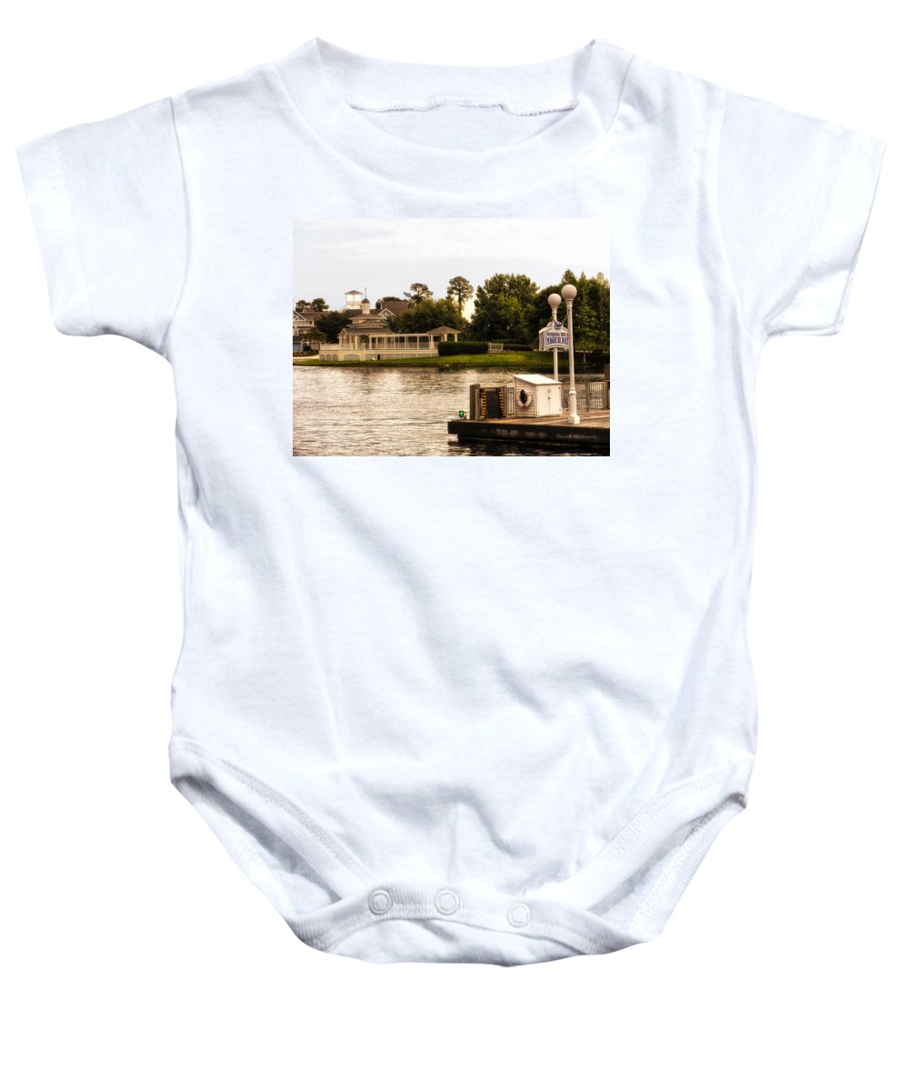 Epcot Baby Onesie featuring the photograph Looking At The Boardwalk Gazebo Walt Disney World by Thomas Woolworth