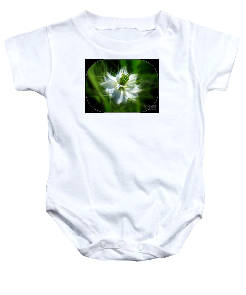 Love In A Mist Baby Onesie featuring the photograph Love In A Mist by Patti Whitten