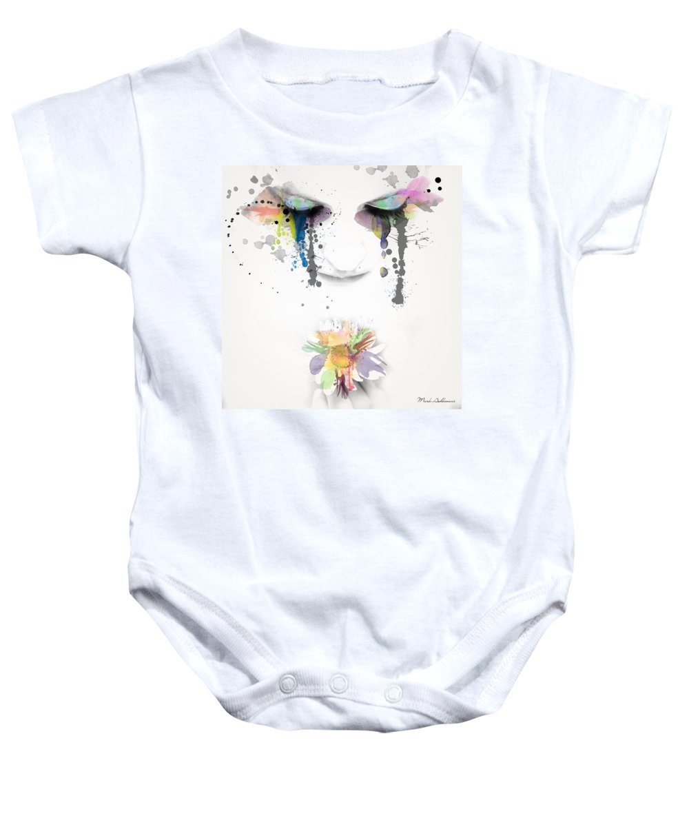 Portrait Baby Onesie featuring the painting Love Is All We Need by Mark Ashkenazi