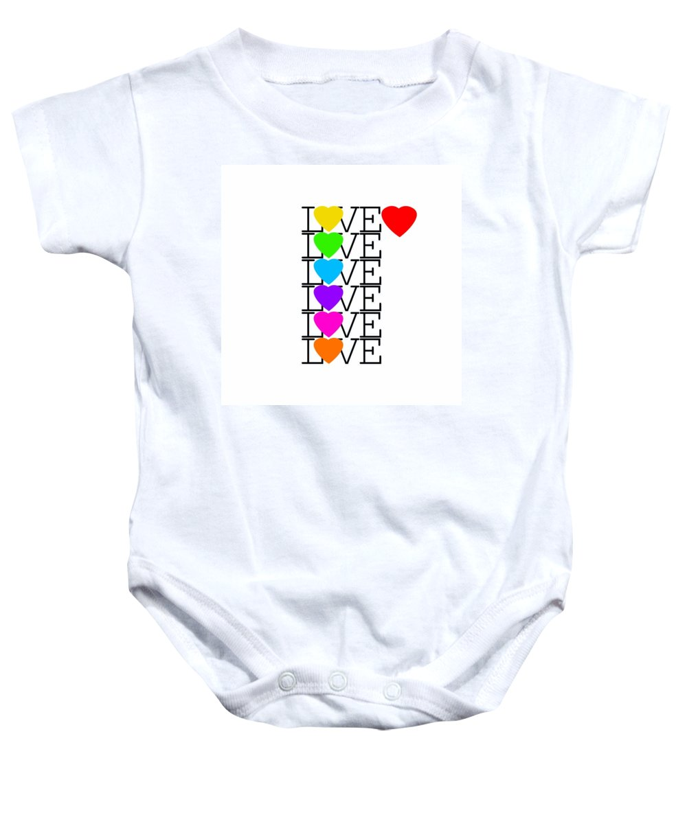 Love Baby Onesie featuring the painting Love Love Love by Charles Stuart