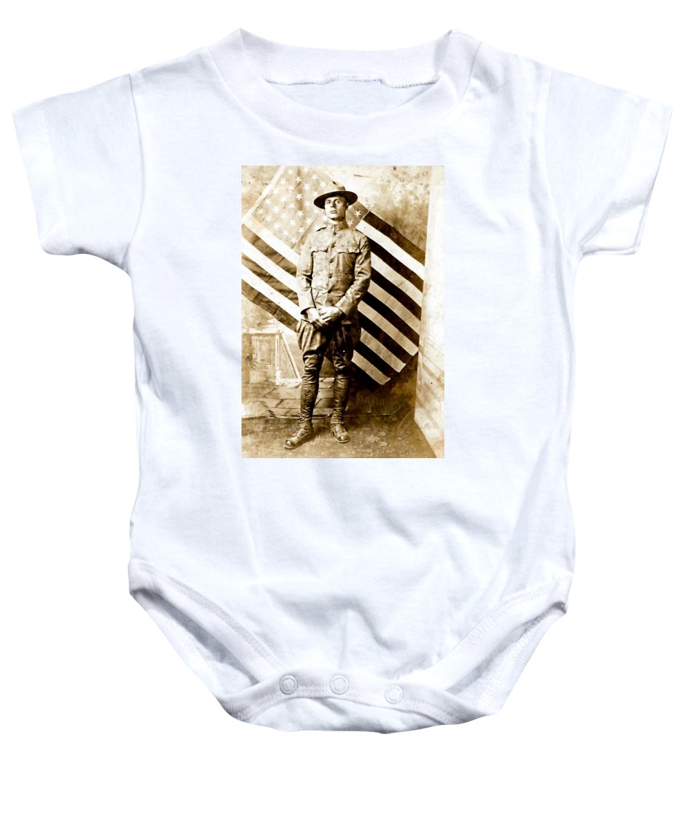 Vintage Baby Onesie featuring the photograph Love Of Country by Image Takers Photography LLC