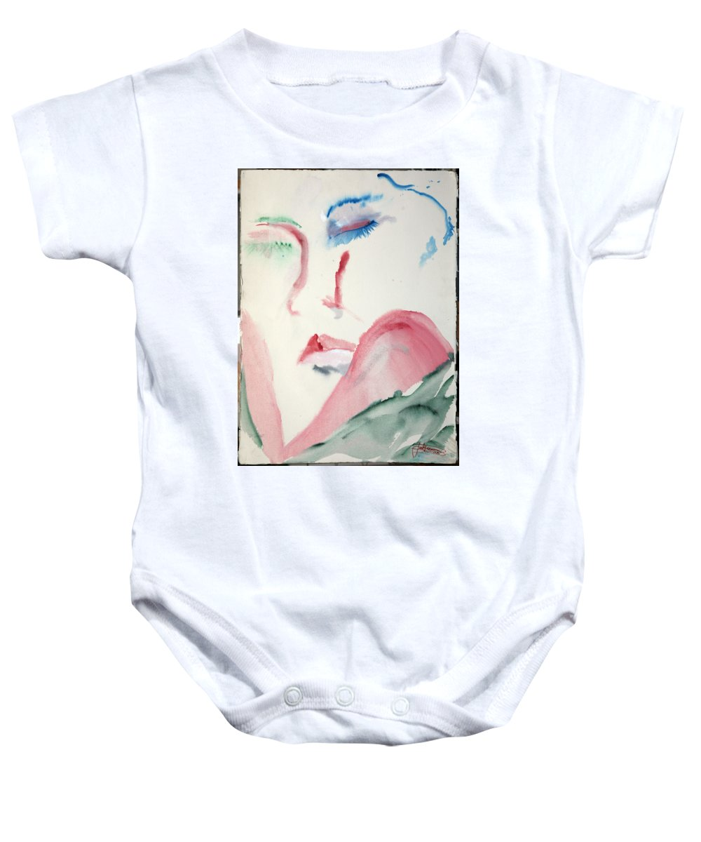 Red Baby Onesie featuring the painting Love Rest by Jack Diamond