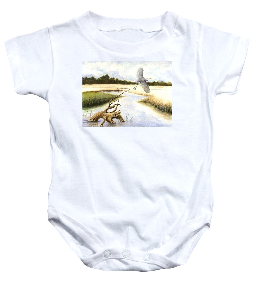 Egret Baby Onesie featuring the painting Low Country Marsh by Ben Kiger