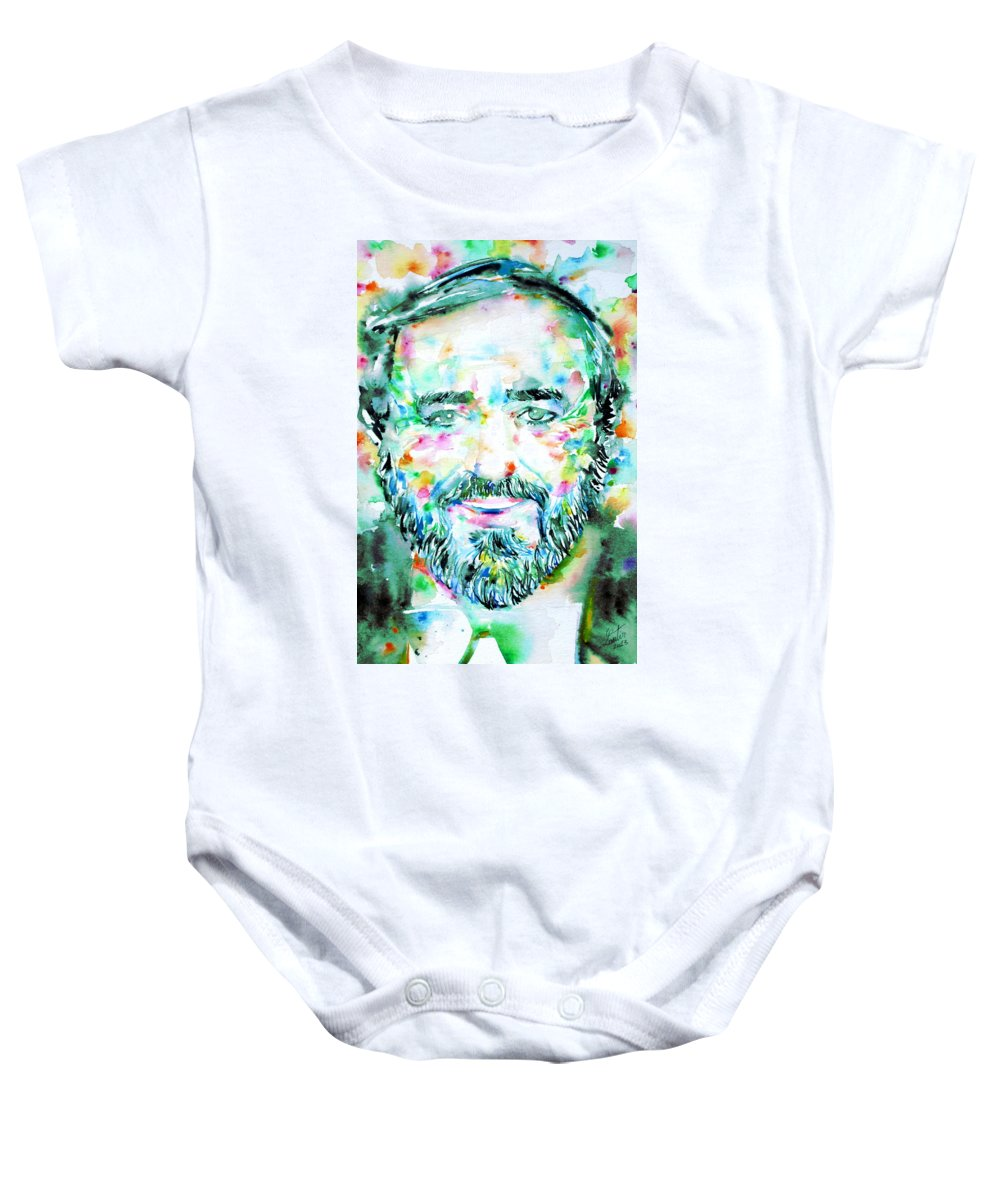 Luciano Pavarotti Baby Onesie featuring the painting Luciano Pavarotti - Watercolor Portrait by Fabrizio Cassetta