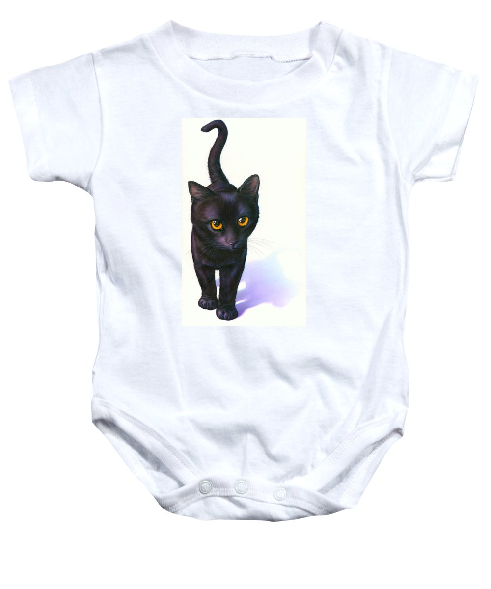 Alertness Baby Onesie featuring the photograph Lucky Cat by Andrew Farley