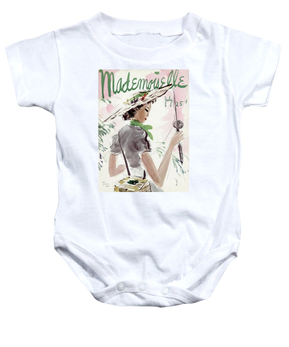Illustration Baby Onesie featuring the photograph Mademoiselle Cover Featuring A Woman Holding by Helen Jameson Hall