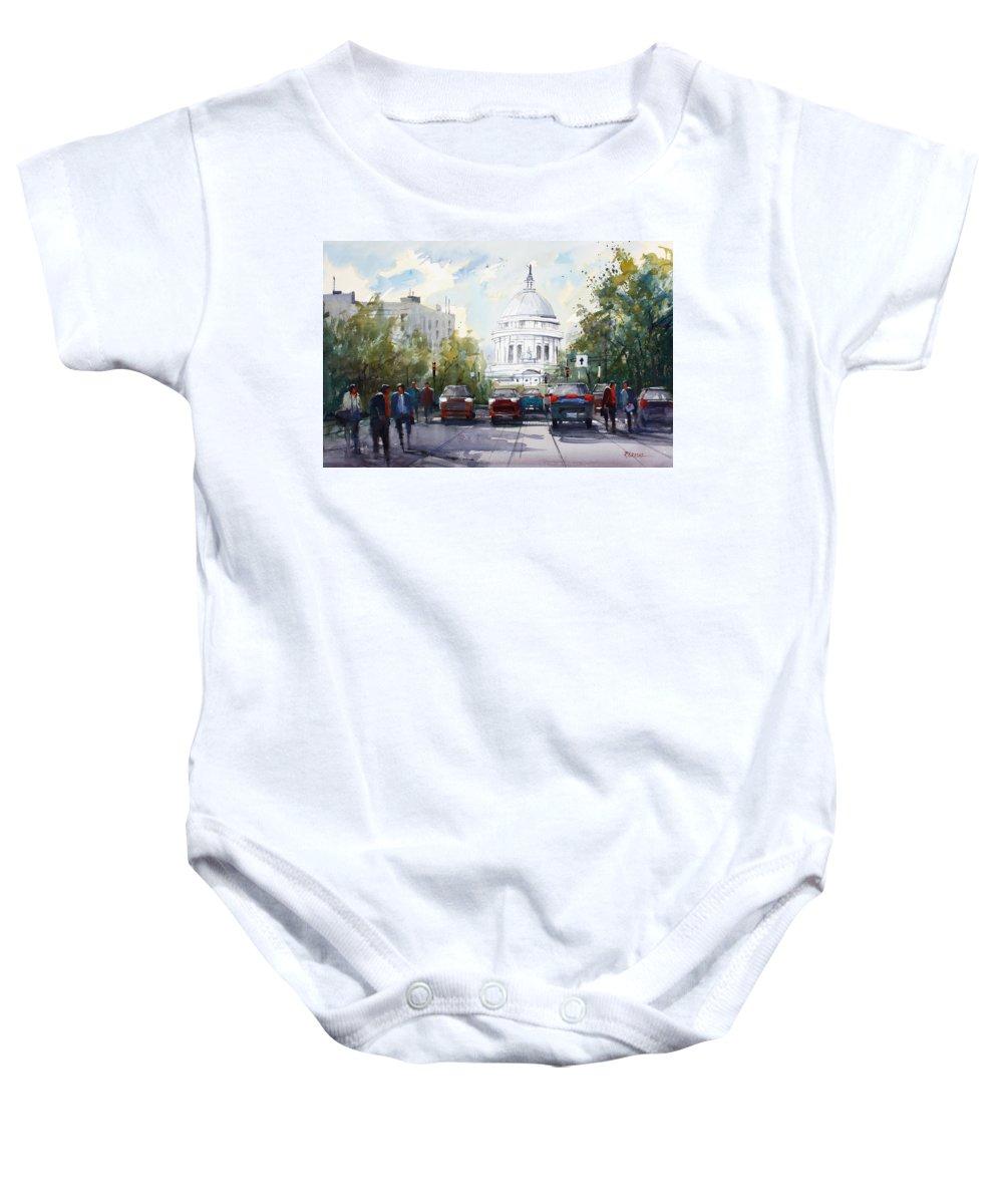 Ryan Radke Baby Onesie featuring the painting Madison - Capitol by Ryan Radke