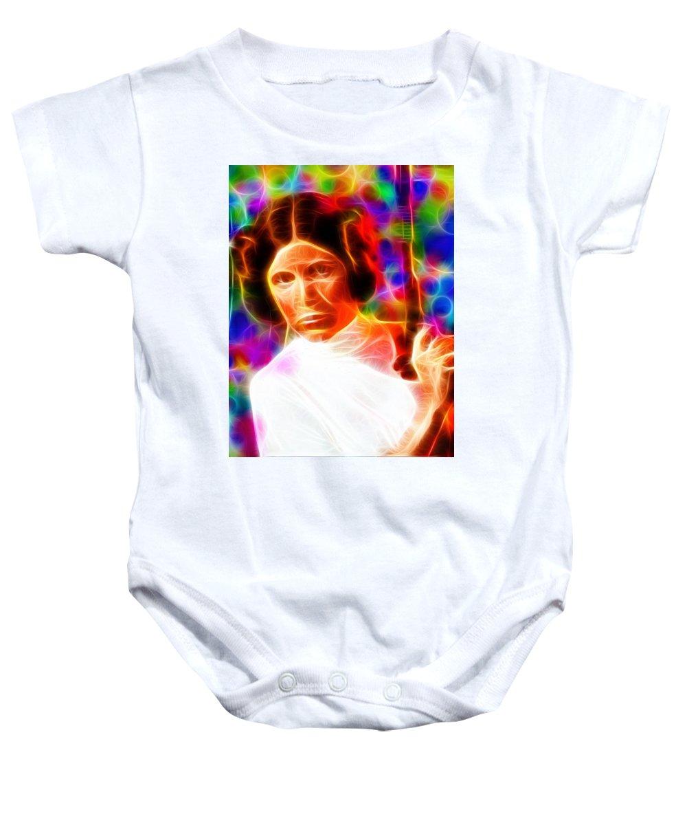 Princess Leia Baby Onesie featuring the painting Magical Princess Leia by Paul Van Scott