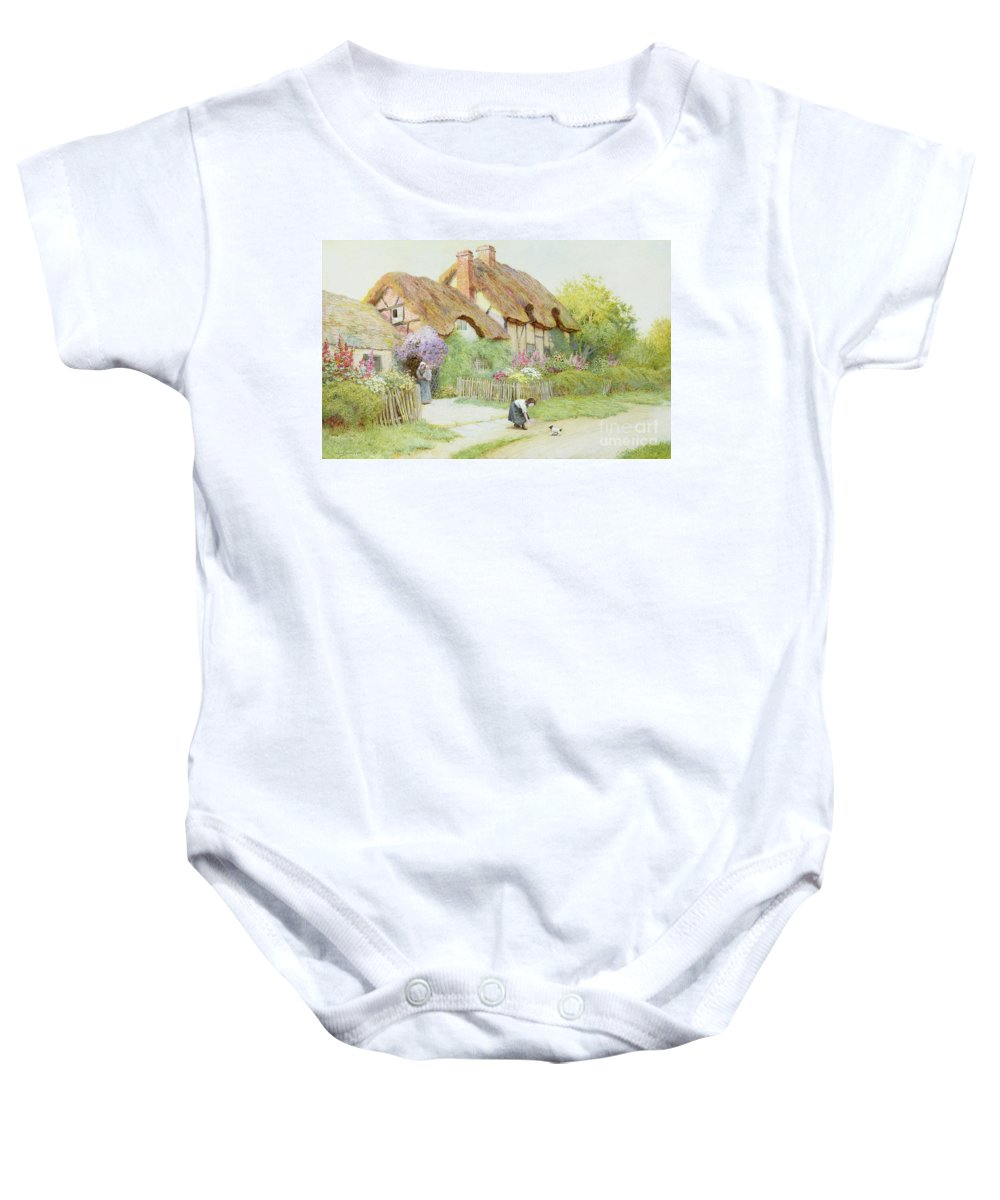 Thatched Baby Onesie featuring the painting Making Friends by Arthur Claude Strachan