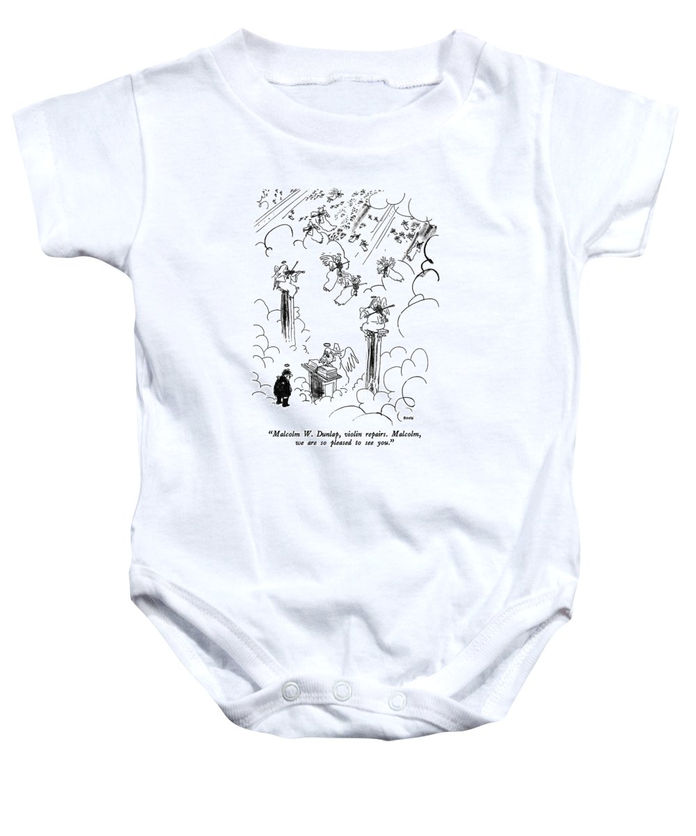 St. Peter To Man Entering Heaven Baby Onesie featuring the drawing Malcolm W. Dunlap by George Booth