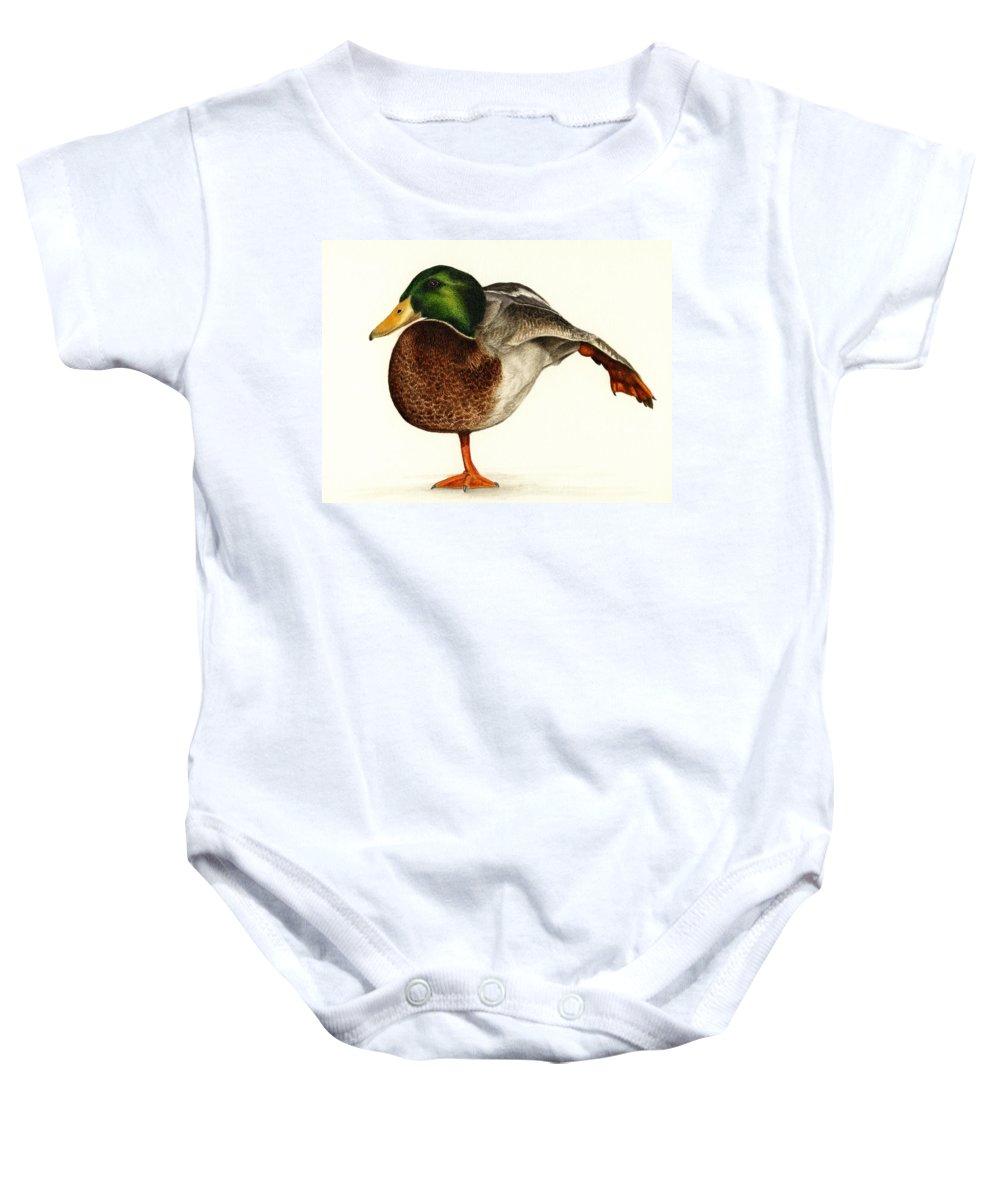Duck Baby Onesie featuring the painting Mallard Ballet by Pat Erickson
