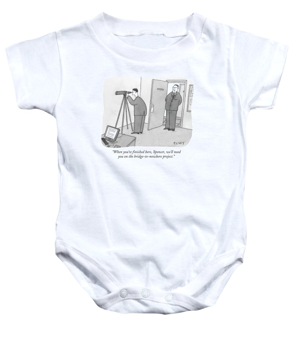 Spy Baby Onesie featuring the drawing Man Stares At Wall With Telescope by Peter C. Vey