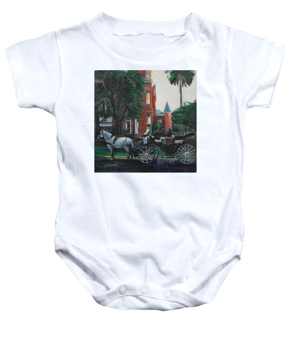 Baby Onesie featuring the painting Mansion on Forsythe Savannah Georgia by Jude Darrien